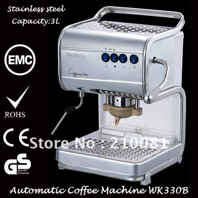 Italian POD Stainless Steel Fully Automatic Coffee Maker for Cappuccino 3L 15 Bar Free Shipping