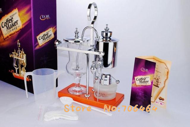 MY3S11   Silver 2- 4 CUPS Belgium royal brewer Siphon coffee machine Balance coffee machine with stainless steel classic design