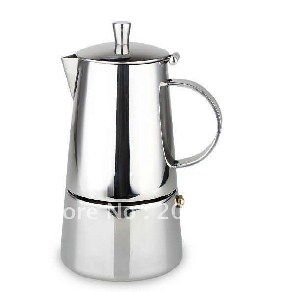 4cups Stainless steel mocha coffee maker/coffee pot,more thickness than nomal coffee pot,Tiamo espresso coffee maker