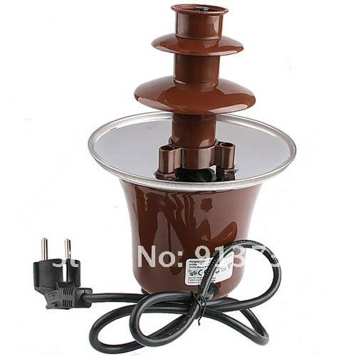 "Free Shipping 9"" Mini Stainless Steel & Plastic 3-Tier Chocolate Fountains Fondue Max 24 Ounce Auger Motor-54562"