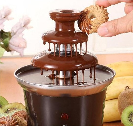 Great Gift! Free Shipping+Wholesale New DIY Chocolate Fondue Fountain with 3-Tier Tower 220V 50Hz High Quality