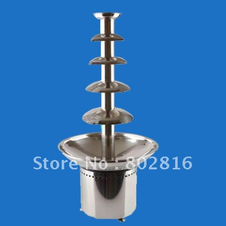 5 Tires/80cm Commerical Chocolate Fountain with High Polish 304 Stainless Steel,Electric Heating Power 215W  With CE&ROHSH