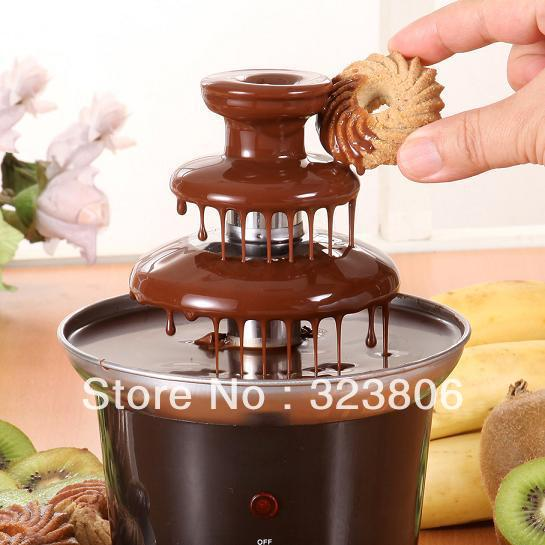 Free Shipping Chocolate Fondue Fountain With 3 Tier Tower 220V 50Hz  Electronic Component Great Gift For Chocolate Maker