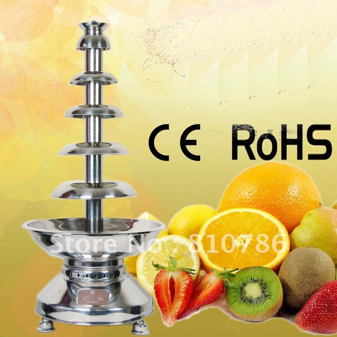 100CM High 6 Layer Stainless Chocolate Fountain Maker+498W+Wroking Time More Than 12 Hours