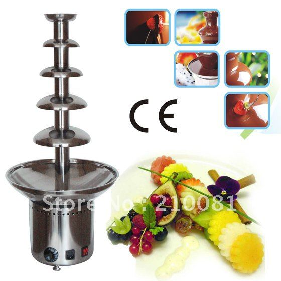 5 Layers 80CM Stainless Steel Electric Chocolate Fondue Fountain  Commercial Free Shipping