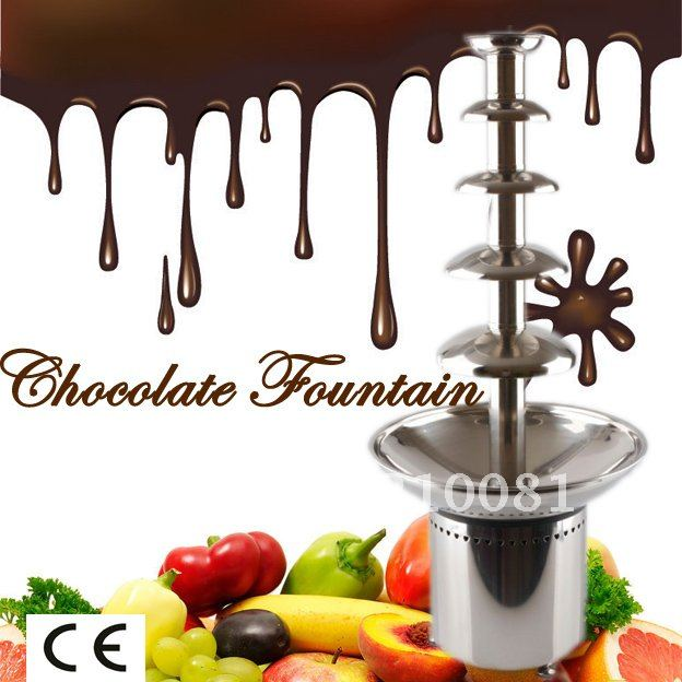 5 Tiers 80CM Stainless Steel Commercial Chocolate Fountain  Free Shipping