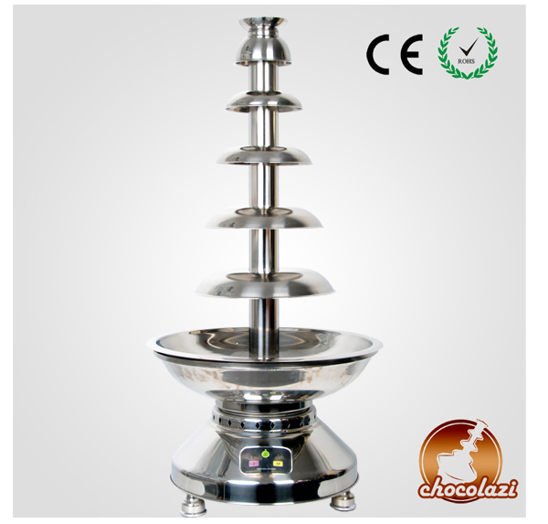 CHOCOLAZI ANT-8110 Auger 6 Tiers Commercial Stainless Steel Chocolate Fountain