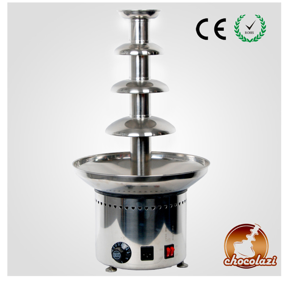 CHOCOLAZI ANT-8060 Auger 4 Tiers Stainless Steel Commercial Chocolate Fondue Fountain Maker
