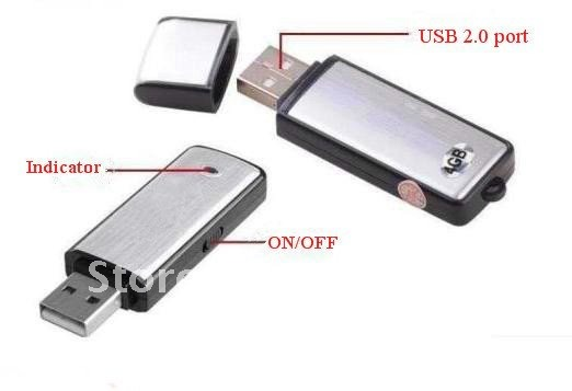 2102 New Hotsale 2in1 4GB Mini Digital Voice Recorder II + USB Flash Memory Stick Drive freeshipping China Post Sample