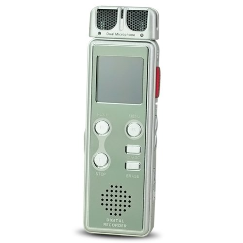 4GB USB Digital Voice Telephone Recorder Dictaphone MP3 Player LCD Display - Silvery