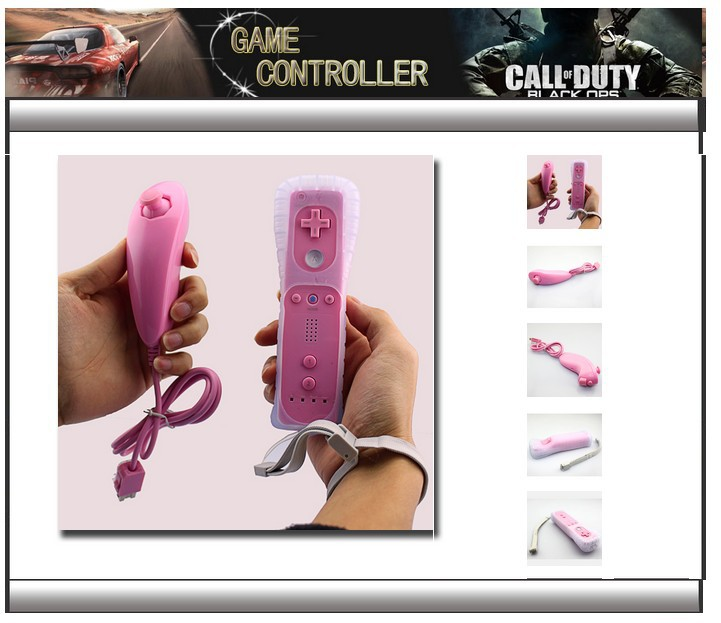 Fashion Pink Remote and Nunchuck Controller Set for Nintendo Wii Game+Case Skin