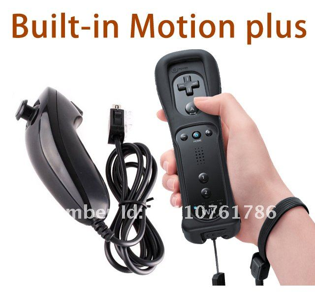 Black Remote Controller Built in Motion Plus For Nunchuck Wii Free Shipping