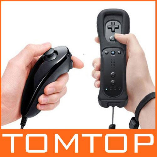 Nunchuck+Wireless Remote Controller & Skin For Nintendo Wii game control,GAME032BT,Free Shipping