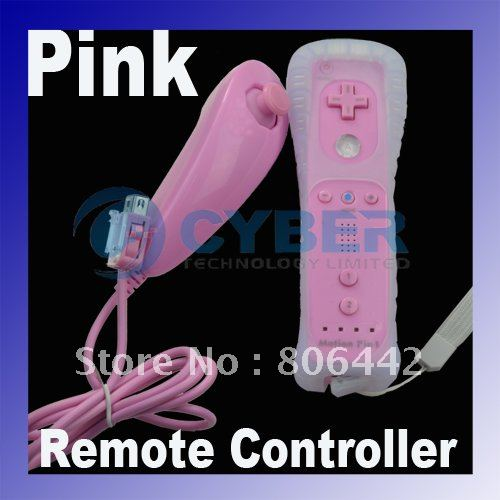 Nunchuk Remote Controller GAME Pink for Nintendo Wii Built in Motion Plus Free Shipping Droshipping