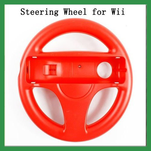 Free Shipping ! Hot Sale !  Red racing car steering wheel for Wii Mario Kart Racing Game