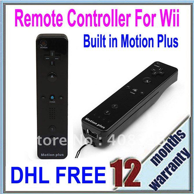 DHL/EMS Free Shipping 10PCS/Lot Wholesale Built in Motion Plus Remote Controller For Wii Black (EW100-BK)