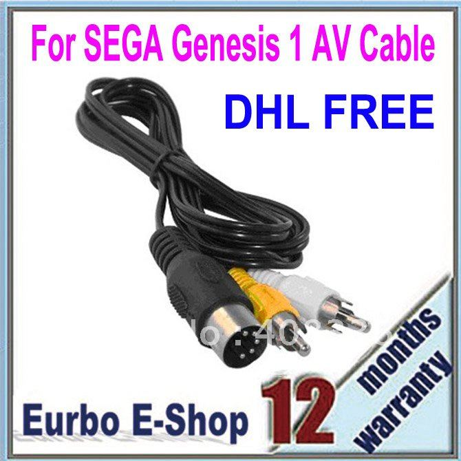 DHL/EMS Free Shipping 50PCS/Lot Wholesale For SEGA Genesis 1 AV Cable Black (ES004)