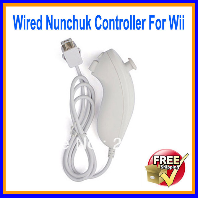 Wholesale 10PCS White Wired Nunchuk Controller For Wii Free Shipping