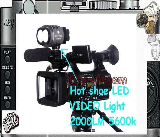 ZF2000 ZF-2000 Hot shoe LED VIDEO Light Lamp Lighting 2000LM 5600k 2x CREE XML U2 for Camera Camcorder DV  DSLR pf019