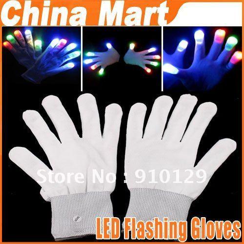 7 mode Led Finger Lights Rave Light LED Flashing Gloves toy & gift Glow Mitt White