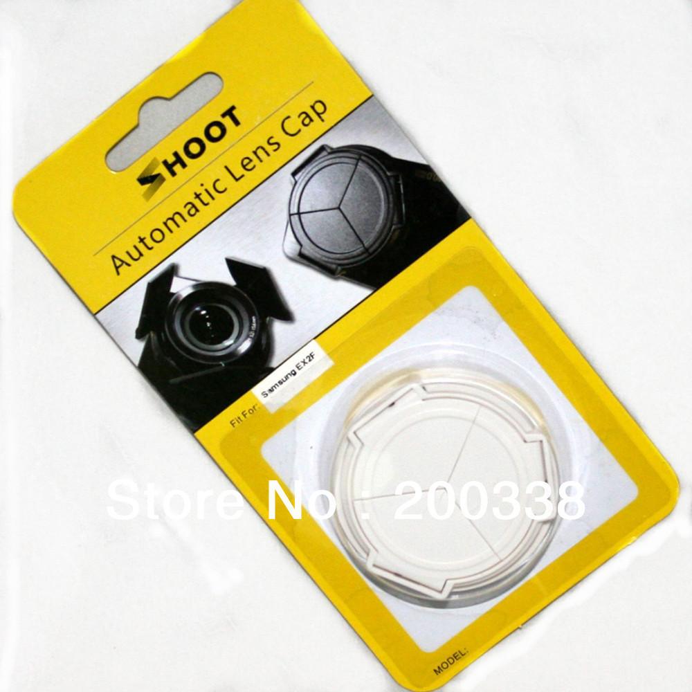 SHOOT Portable Self-Retaining Auto Lens Cap For Samsung EX1 EX2 EX2F white Brand new