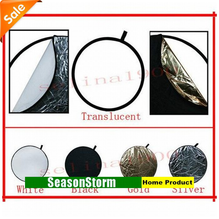 [CPA Free Shipping] Retail Folding Translucent White Black Gold Siliver 5 in 1 Light Reflector For Photography (SX-23)