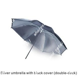 "free shipping photo photography umbrella 33""(83cm) silver umbrella with black cover studio system kit"