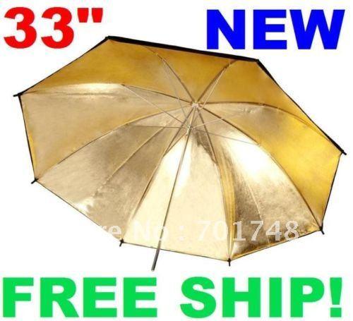 For studio Flash 33'' Black Gold Reflective Umbrella