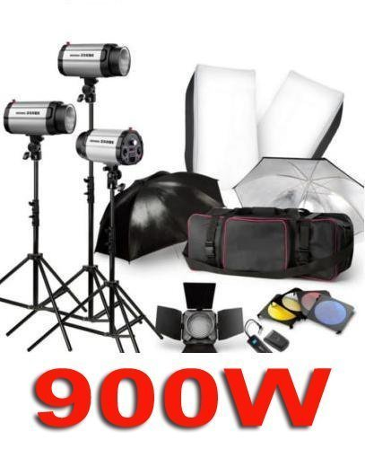 Free Shipping 900W Pro STUDIO LIGHTING FLASH STROBE KIT PHOTOGRAPHY LIGHT 3X300W +TRIGGER +Barn Door +SOFTBOX +UMBRELLA +BAG
