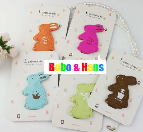 Free Shipping/ New cute rabbit PU Earphone cable Winder / Wire holder / Wholesale