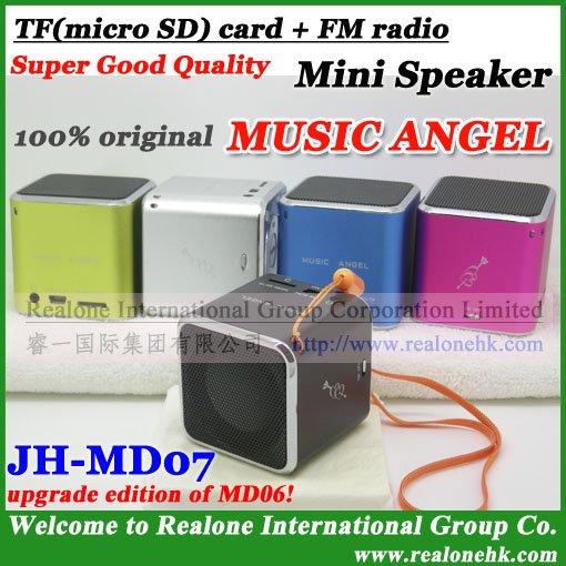 Free Shipping phone speaker,2011 HOT portable speaker MUSIC ANGEL MD07 read TF card+FM radio+original quality+Cool MP3 sound box