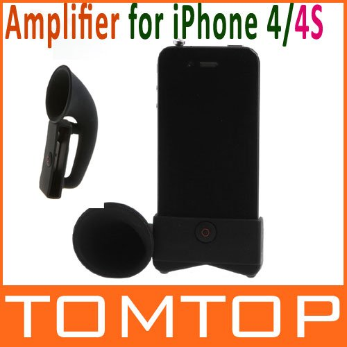 Black Color Cute Portable Silicone Horn Stand Amplifier Speaker for iPhone 4 4S Free Shipping+Drop Shipping