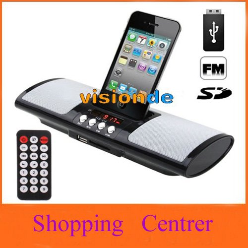 Multi-function Card Reader Speaker with Remote Controller for iPhone 4 / 3GS / 3G / iPod, Support USB Flash Disk, SD / MMC Card,