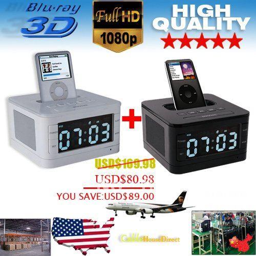free shipping LCD FM Radio Alarm Clock Speaker Dock For IPOD IPhone-white+black