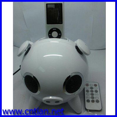 Pig Hi-Fi speaker without white, High-Quality Sound Cute Pig Speaker /Mini loudspeaker for IPhone / IPhone 4,MP3/4,POD With Dock