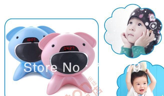 50pcs/lot DHL free ship new carton panda design  MP3 FM radio Portable  mini wireless bluetooth speaker with LED display