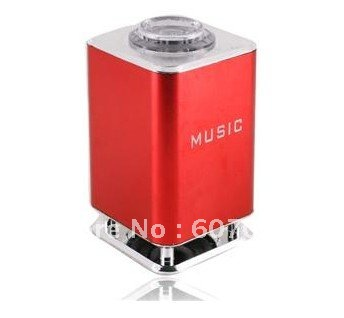 Free shipping+Red Mini Square Speaker Sound Box with Light