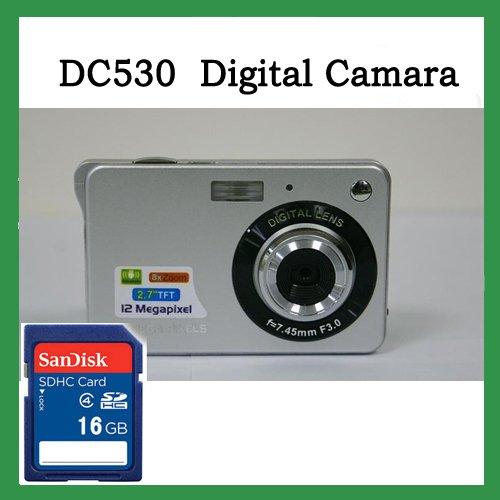 """Free Shipping !  Waint DC530 silver  2.7"""" TFT 12.0Mega pixels Digital camera,DC camera + 16G SD Card"""