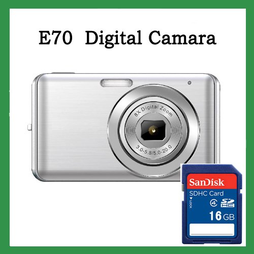 "Free Shipping! WINAIT E70 silver Effectual 12MP Digital camera with 2.7"" TFT LCD  numerical code product+ 16G SD Card"