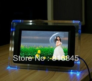 Cheapest (7-inch digital photo frame decorated four LED lights (white + black) 480 * 234 screen slide photo