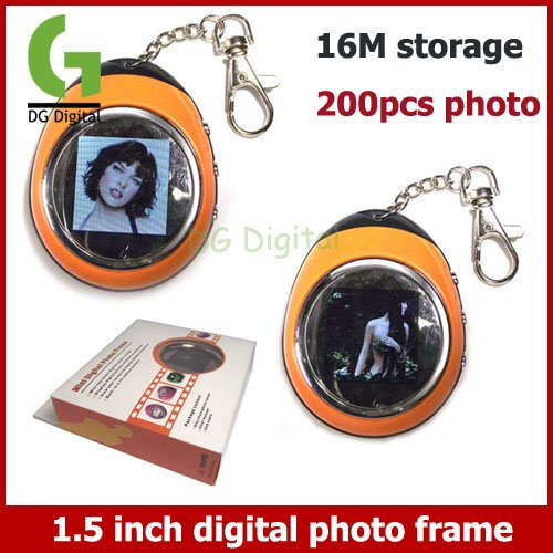 Free Shipping new arrival big Q 50pcs/lot Keychain type 1.5 inch Digital Photo Frame with retail box 16M storage 200pcs photoes