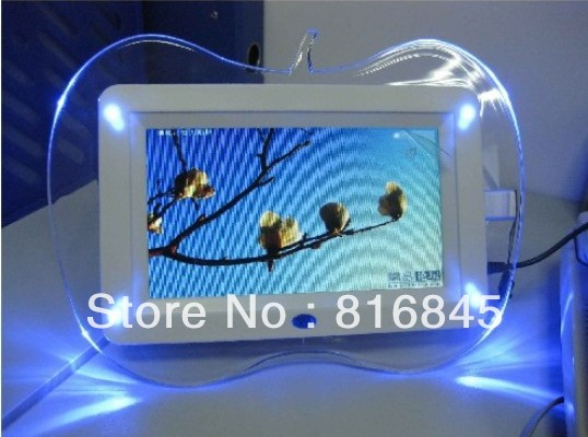 Free Shipping 7-inch high-definition Apple photo frame with LED blue lights, electronic album