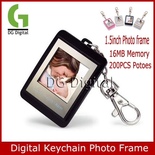 Free Shipping hot sale 30pcs/lot Keychain type 1.5 inch Digital Photo Frame 16M storage 200pcs photoes