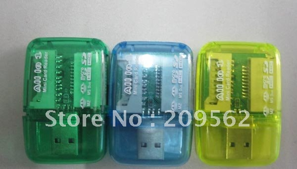 Free Shipping !! Hot Selling (M2+SD+Micro SD+MS Duo)4 in 1 Portable Mini Card Reader  300pcs/lot