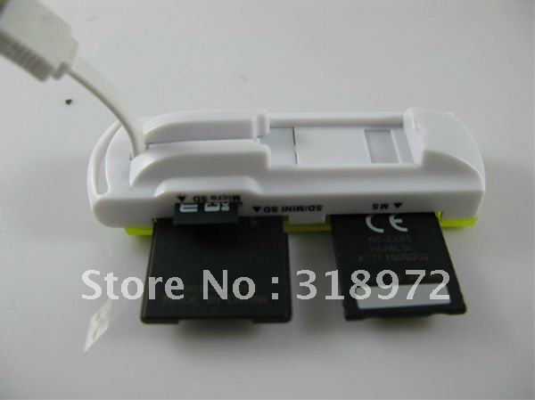 20pcs Small spacecraft Card Reader Multi Cards In 1(SD,MMC,TF,M2, SDHC,Memery stick reader )Free shipping so hot