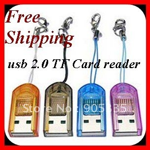 1000pcs/lot Cheapest  USB2.0 TF card reader.Micro SD card reader