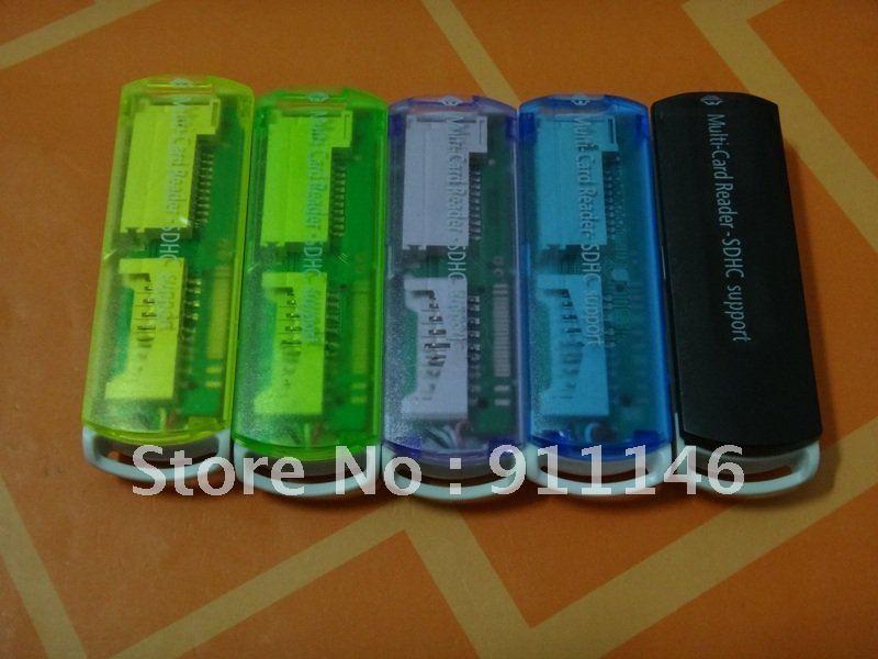 Free shipping USB 2.0 SDHC SD/Mini SD/Micro SD/TF/M2/MS Card Reader