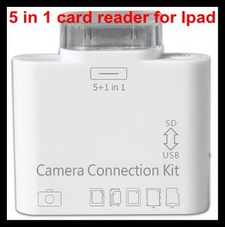 USB 5 in 1 SD Card reader for tablet PC, Camera connection kit, with retail package 10pcs a lot wholesale free shipping