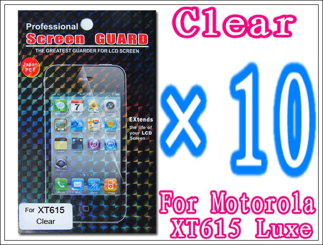 10pcs/lot+Clear Screen Protector For Motorola XT615 Luxe,With Retail Package Free Shipping