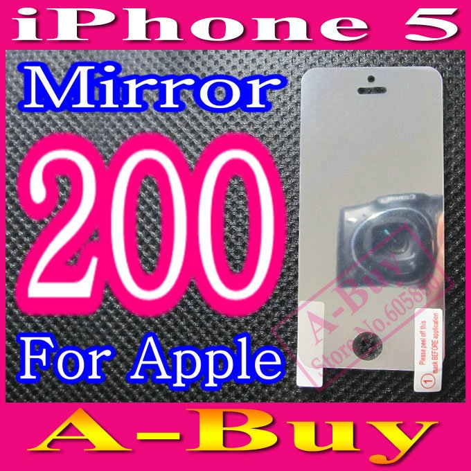 Mirror Screen Protector Film For iPhone 5 5G iPhone5,No Retail Package,200pcs/lot